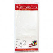Party Dimensions Single Count Rectangular Plastic Tablecover, 140cm by 270cm , White