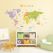 Decowall DMT-1306 Colourful World Map Peel and Stick Nursery Kids Wall Decals Stickers