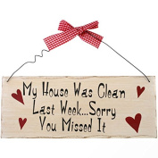 Shabby Chic Gingham Style Wooden Clean House Funny Hanging Wooden Wall Sign