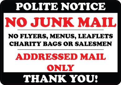NO JUNK MAIL FLYERS LEAFLETS MENUS LABEL DOOR WINDOW STICKER SIGN SALESMEN 7cm x 10cm