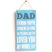 'Dad I Know You've Loved Me As Long As I've Lived, But I've Loved You My Whole Life..' Gift For Dad - Handmade Shabby Chic Wooden Door Sign / Plaque