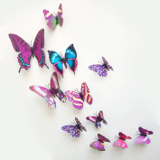 12 Pieces 3D Butterfly Stickrs Fashion Design DIY Wall Decoration House Decoration Babyroom Decoration-PURPLE