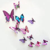 12 Pieces 3D Butterfly Stickrs Fashion Design DIY Wall Decoration House Decoration Babyroom Decoration-PURPLE