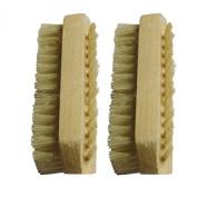 Healtheveryday® 2PCS Hand Food Washing Fingernail Nail Brush Bristle & SPA Oil Massage Brush, Wood Handle & Natural Bristle Manicure Brush
