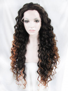 Imstyle Beyonce Hair Wig Synthetic Lace Front Wig Long Small Curly Two Tone Blonde Mixed Colour