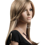 HSG sweet girl medium long blonde wigs oblique bangs long straight wigs high quality soft wigs for women TF1171