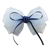 White Bowknot Barrettes Hair Clip Clamp Hairpin Headwear Accessories for Women