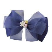 Great Handmade Women Girl Bowknot Barrette Hair Clip Blue Elegant Hair Pin Hearwear