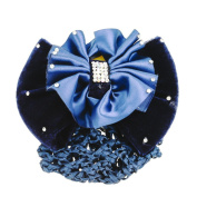 Beautiful Bead Lady Glitter Rhinestone Bow Barrette Hairnet Blue