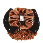Beautiful Bead Lady Glitter Rhinestone Bow Barrette Hairnet Brown