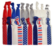 "Hair Ties Ponytail Holders - ""Red White and Blue"" 4th of July 20 Pack No Crease Ouchless Elastic Styling Accessories Pony Tail Holder Ribbon Bands - By Kenz Laurenz"