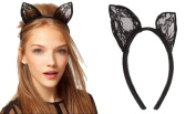 MERSUII™ Sexy Black Lace Bunny Cat Ears Hairband for Wedding Lace Veil Orecchiette Ear Hair Band Hairclip Cosplay Fancy Dress Accessory