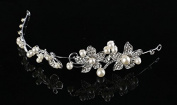 Art Deco Wedding Hair Accessories Silver Hair Headband with Pearls and Acrylic Crystal