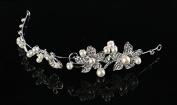 Art Deco Wedding Hair Accessories Silver Hair Headband with Pearls and Acrylic Crystal