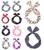 AWEN 10pcs Hair Tie Polka Dot Stripe Flower Ribbon Rockabilly Bunny Rabbit Ear Girls Hair Band Tie Twist Bow Wire Headband Scarf Wrap