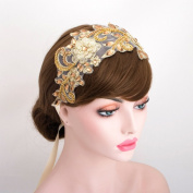 Luxury Gold Rhinestone Lace Headpiece Wedding Bridal Ribbon Headband