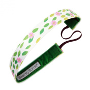 Sweaty Bands Fitness Headband - Petal to the Metal White, Green 2.5cm