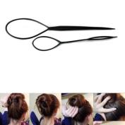 2 Pcs Black Topsy Tail Hair Braid Ponytail Maker Styling