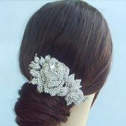 Sindary Silver-Tone Flower Wedding Hair Comb Clear Rhinestone Crystal Bridal Headpiece
