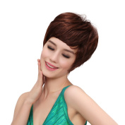 Bigood Lady Inclined bang Personality Temperament Light brown Wig 22cm