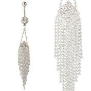 New 14G Clear Gems Crystal Long Tassels Dangling Belly Bar/Navel Ring
