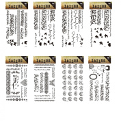 King Horse Bird Heart Black Arabic Temporary Tattoos All-In-One Package 8 Sheets