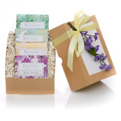 ORGANIC HANDMADE SOAP GIFT SET - ALL NATURAL - Scented w/ Pure Aromatherapy Grade Essential Oils - 4 Full Size Bars - Each Bar Wrapped in Handmade Decorative Paper - Comes in Elegant Embossed Gift Box w/ Satin Ribbon & Floral Embellishment