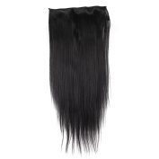 Yesurprise NEW 70cm Synthetic 3/4 Full Head Clip in Long Straight Human Made Hair Extensions Charming Sale Trendy Gift #1B