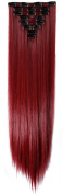 70cm Maroon Mix Dark Red Long Straight Clip in on 8 Pieces Full Head Set Hair Extensions 8pcs Hairpiece