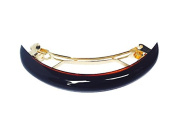 Parcelona French Half Round Thin 7.6cm Length Celluloid Tortoise Shell Automatic Hair Clip Barrette with Golden Metallic Part