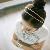 New Fashion Women's Double Layer Metal Barrette Headwear Headband Hairband Gold