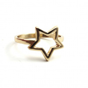 Women Finger Ring Hollow Star Plated Alloy Casual Ring Jewellery Decoration Gold