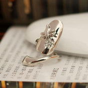 1pcs Stylish Dragonfly Flower Shiny Rhinestone Finger Tip Nail Ring Silver