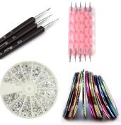 Claire's Nail Kit includes 30 Striping tape & 12 Silver Rhinestones & Dotting Pen set & Brush Set