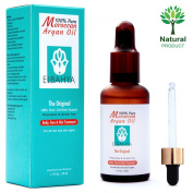 Elbahya 100% Pure Organic Moroccan Argan Oil, for Hair, Face, Skin & Nails. Cold Pressed Unrefined in a Dark Glass Amber Bottle, and Eye Dropper for Easy Application ★ Certified 100% Organic Oil Never Tested on Animals and Free From Alcohol