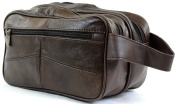 Mens Leather Toiletries / Travel / Holiday / Over Night / Wash Bag
