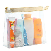 TRAVEL CLEAR BAG AIRPORT LIQUID TRANSPARENT TOILETRIES PLASTIC POUCH MAKE UP COSMETIC ZIPPER GOLD BAG HQ