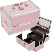 JustCase Cosmetic Makeup Train Case, Pink Smooth