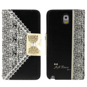 Towallmark(TM)Black Cute Flip Wallet Leather Case Cover for for  for  for Samsung   Galaxy Note 3 N9000