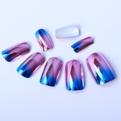 Ecbasket 24 Pcs Pre-designed Metallic Changing Colours Blue & Pink Full Nail Tips Acrylic False Nails +1 Pcs Glue or 20 Counts Nail Adhesive Stickers for Free As Random