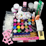 US Seller ~ 25 in 1 Full Acrylic Nail Art Tips Set Acrylic Glitter Powder Dust Liquid Primer Brush Glue Buffer Block Sanding Files Rhinestones Pearl Decorations Tools Kits #13