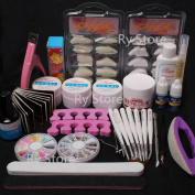 US Seller ~ 23 in 1 DIY Nail Art Decorations Kit Brush Buffer Cuticle Revitalizer Oil Pen Tools Natural White Nail Tips Rhinestones Pearls Cutter Sanding Files Forms Glue UV Gel Set #26 (D) by WindMax.