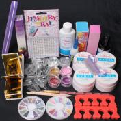 US Seller ~ Nail Art Comb Set UV Gel Kit UV Brush Buffer Guides Toe Seperator Glitter Powder Dryer Liquid Tools Nail Tips Glue DIY Kit #168