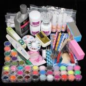 Vip Beauty Shop Professional 42 Acrylic Powder Liquid Brush Glitter Clipper Primer File Nail Art Tips Set Kit with Duck Nail Tips