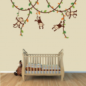 Green and Orange Monkey Wall Decal for Baby Nursery or Kid's Room, Fabric Vine Decal
