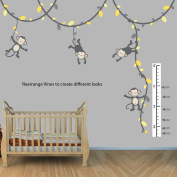 Yellow and Grey Monkey Wall Decal for Baby Nursery or Kid's Room with Growth Chart