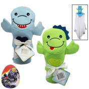 Hooded Baby Towels (80cm x 80cm ) for Boys and Bath Puppet Wash Mitten - Boy Baby Gift Set - 2 Item Baby Bath Gift Set w/ BonusEgg Shaped Puzzle (20cm x 18cm Assorted)