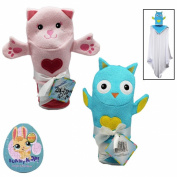 Hooded Baby Bath Towels (80cm x 80cm ) for Girls and Bath Puppet Wash Mitten - 2 Item Baby Bath Gift Set w/ Bonus Egg Shaped Puzzle (20cm x 18cm Assorted)
