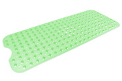 DII 40cm by 100cm Non Slip Transparent Safety Grip Suction Cup Vinyl Bath Tub Mat with Drain Cutout, Large, Green