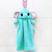 Lovely Nursery Hand Towel Soft Plush Fabric Cartoon Animal Hanging Wipe Bathing Towel
